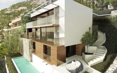 Projet en cours de construction et gros oeuvre d'une villa avec piscine à Villefranche sur Mer