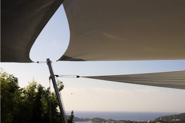 Voiles d'ombrages Hi-Tech montées sur accastillage inox